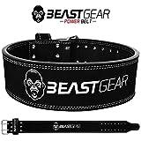 Beast Gear Cinturón Halterofilia - Cinturón Lumbar Powerlifting con Doble Hebilla - Cinturón Levantamiento de Peso de Piel Nobuck - 10 cm de Ancho y 10 mm de Grosor