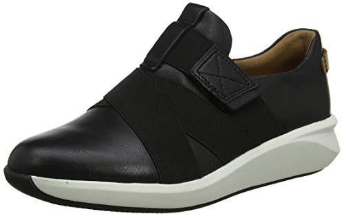 Clarks Un Rio Strap, Zapatillas Mujer, Negro (Black Leather Black Leather), 39 EU