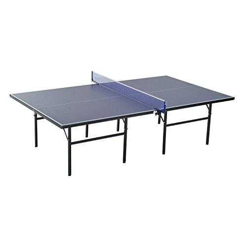 HOMCOM Mesa de Ping Pong Plegable con Red 152.5x274x76cm Tenis de Mesa y Material de Acero y...