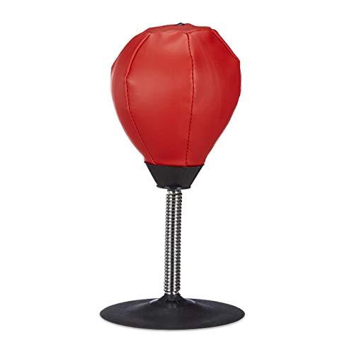 Relaxdays Saco de Boxeo Antiestrés para Escritorio, Piel sintética, Rojo, 35 x 18 x 18 cm
