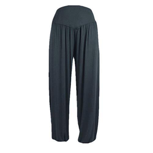 Pantalones deportivos flojos de yoga polainas para mujer mediados de cintura elástica...