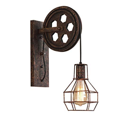 Industrial Aplique Vintage Lámpara de Pared Retro Creativo Forma de Jaula con Polea...
