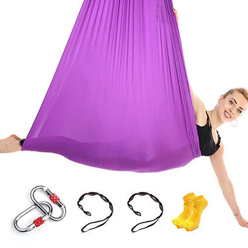 Himifuture - Hamaca de Yoga de 5 m de Largo, 3 m de Ancho, con mosquetón y Cadena de...