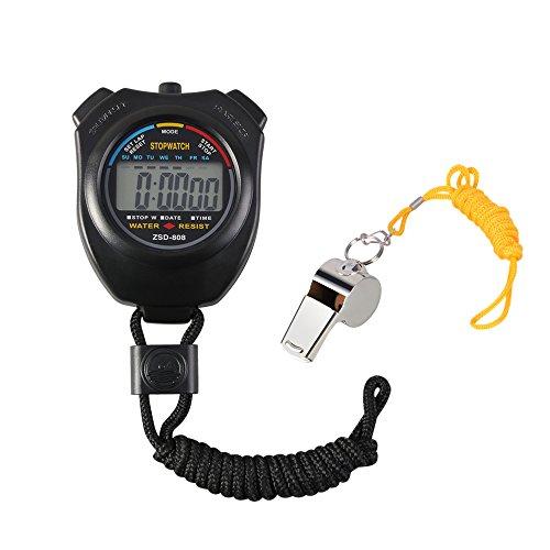 Vicloon Digital Cronómetro con Silbato de Acero Inoxidable - LCD Deporte Cronómetro para...