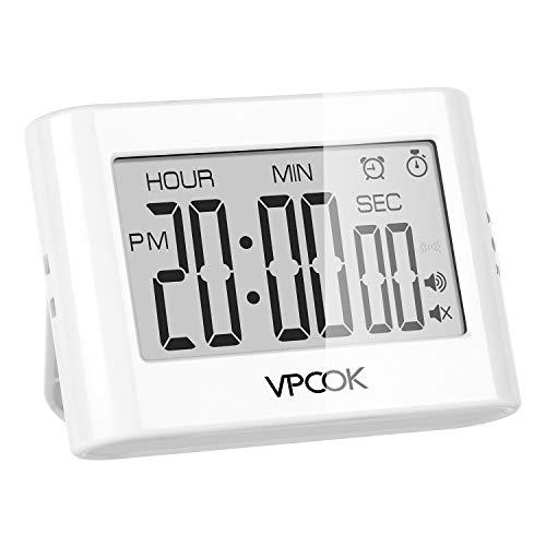 VPCOK Temporizador de Cocina Digital, Reloj Temporizador, Count up/Down Gran Pantalla LCD...
