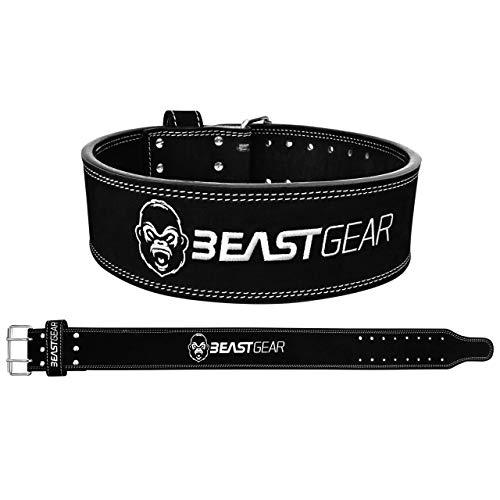 Beast Gear Cinturón Halterofilia – Cinturón Lumbar Powerlifting con Doble Hebilla –...