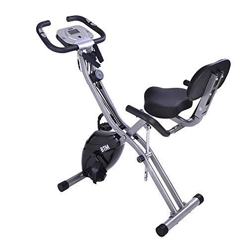 Bicicletas Estáticas Plegable con Respaldo 10 Niveles de Resistencia Pantalla LCD, Bicicleta...