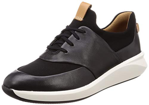 Clarks Un Rio Lace, Zapatillas, Negro (Black Leather Black Leather), 36 EU