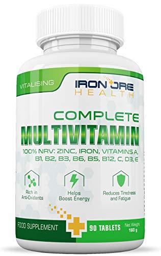 Multivitaminas completas | Multivitaminas, Zinc, Hierro y Magnesio | 90 Cápsulas | Suministro...