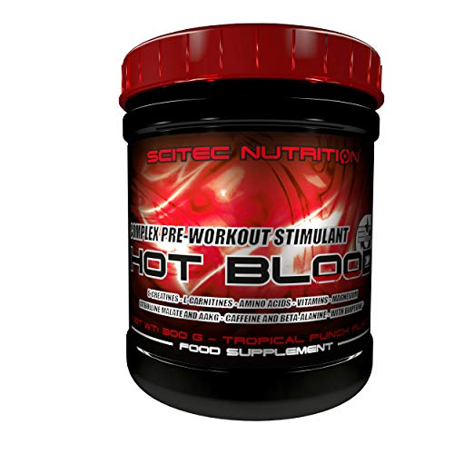 Scitec Nutrition Hot Blood 3.0 Fórmula Pre Entrenamiento Ponche Tropical - 300 g