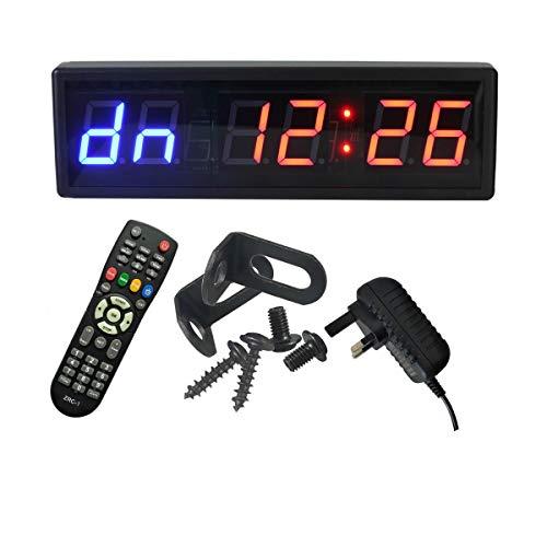 Ledgital Reloj de entrenamiento con temporizador de pared para gimnasio, 38 x 12 cm,...