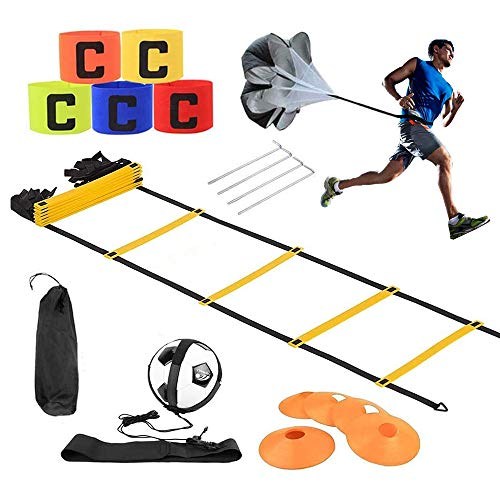 Kit entrenamiento velocidad y agilidad de fútbol,escalera de agilidad y cono,paracaídas para...
