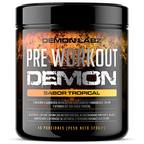 Pre Workout Demon (Sabor Tropical) - Suplemento Potente pre-Entreno con Creatina, Cafeína,...