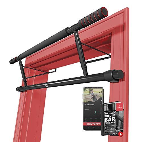 Barra de dominadas para marco de la puerta sin tornillos / taladro + guía de entrenamiento -...