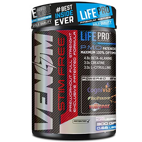 Life Pro New Venom Non Stimulant Pre Workout – Pre entreno sin cafeína ni estimulantes para...