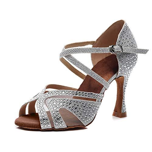 Syrads Zapatos de Baile Latino para Mujer Salsa Tango Bachata Vals con Pedrería Zapatos de...