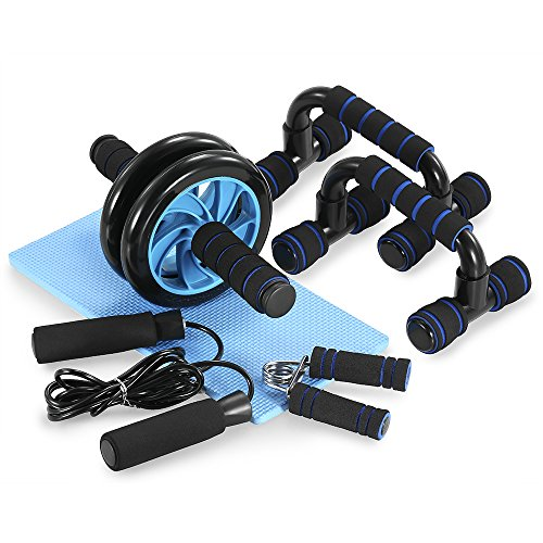 TOMSHOO 5 in 1 - Kit de Rueda Abdominal, Push Up Bars, Cuerda para Saltar, Fortalecedor de...