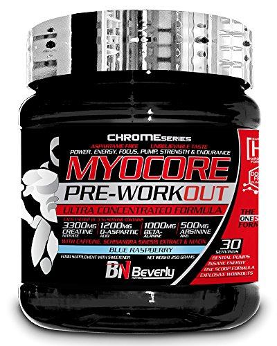 Beverly Nutrition Myocore Pre-Workout Pre-Entrenamiento Sabor Blue Raspberry - 250 gr