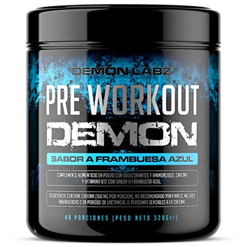 Pre Workout Demon (Sabor Frambuesa Azul) - Suplemento Potente pre-Entreno con Creatina,...
