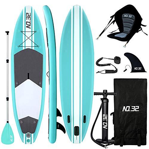 Tabla Hinchable de Paddle Surf + SUP Paddle Remo de Ajustable | Bomba | Mochila | Aleta Central...