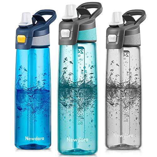 Newdora Botella de Agua Deportes 750ml, Botella Agua Niños Sin BPA, con Pajita, Cepillo de...