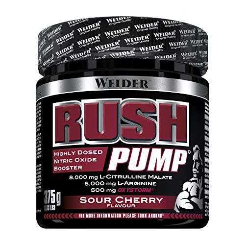 Weider Rush Pump Sour Cherry 375g. Pre-entreno sin cafeína ni creatina. Con L-Citrulina,...