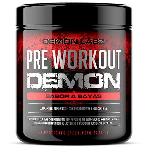 Pre Workout Demon (Sabor Frutas del Bosque) - Suplemento Potente pre-Entreno con Creatina,...