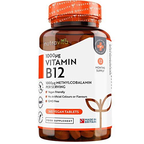 Vitamina B12 Vegana 1000mcg Alta Potencia - 365 Comprimidos Vegana (Suministro de 12 Meses) -...