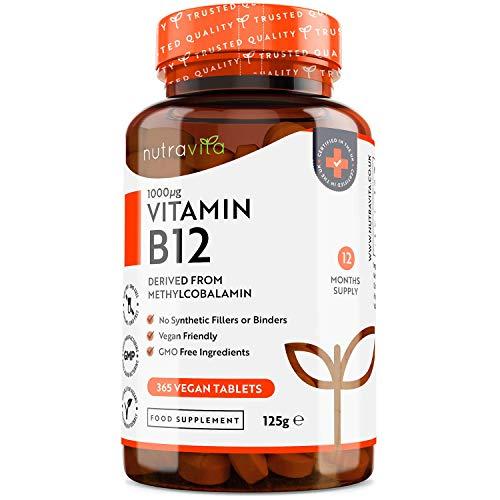 Vitamina B12 Vegana 1000mcg Alta Potencia - 365 Comprimido Vegana Suministro de 12 Meses -...